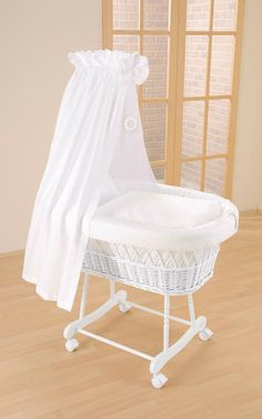 "Blue Almonds | Wicker drape crib in white ""Topas"" for the unidentified Moses Basket"