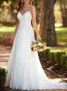 Spaghetti Straps V Neck A Line Long Formal Elegant Long Lace Beach Wedding Dress,Lace Simple Elegant Lace Bride Dress