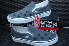 Custom Embroidered Paw Print Vans Shoes by SurfsideStitch on Etsy, $90.00