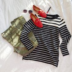 Modern stripes align this sweater