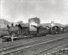"Delaware, Lackawanna and Western Scranton, Pennsylvania, circa 1900. ""Group of Lackawanna freight engines. Delaware, Lackawanna & Western R.R."""