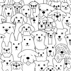 Illustration about Seamless doodle dogs line art background, black and white. Illustration of drawn, background, character - 121773118 Dog Line Art, Dog Art, Doodle Art Drawing, Art Drawings, Cute Dog Drawing, Illustration Art Dessin, Black And White Doodle, Animal Doodles, Doodle Dog