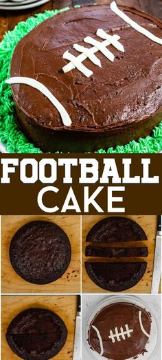 Easy Football Cake Recipe Tutorial – Crazy for Crust Learn how to make a football cake easily using a cake mix! This simple football cake is great for a birthday or for watching the. Easy Cake Recipes, Dessert Recipes, Desserts, Dinner Recipes, Cupcakes, Cupcake Cakes, American Football, Super Bol, Homemade Chocolate Frosting