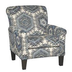 Indigo Blue & White Casual Contemporary Accent Chair - Bellamy