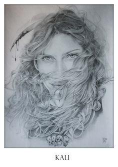 Homenagem a Kali (grafite e papel). Sobre Kali: http://www.ideafixa.com/kali-em-historia-e-imagens/