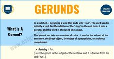 It can sometimes be hard to grasp the meaning of all the different types of words and just how and when to use them correctly, and gerunds are often one of Esl Grammar, English Grammar, Working On Sunday, Improve Your English, Prepositions, Study Hard, In A Nutshell, I Love Reading, How To Wake Up Early