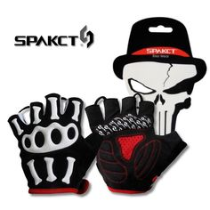 SPAKCT Men's Skull SRG Silicone Gel Paded Road MTB BMX Bike Bicycle Cycling Cycle Wear Short Half Finger Gloves-Skeleton,5 sizes #Affiliate