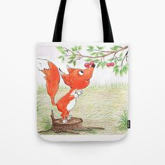 Foxy and the berries Tote Bag by yuliapotts Berries, Reusable Tote Bags, Illustrations, Illustration, Bury, Blackberry, Illustrators, Strawberries