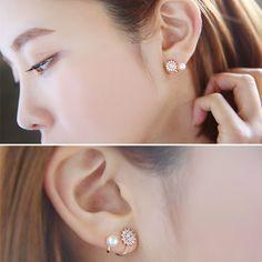 2015 새로운 유행 귀걸이 비쥬 보석 도매 달콤한 라인 석 시뮬레이션 진주 눈송이 귀 재킷 귀걸이