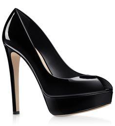 Escarpín abierto con plataforma de piel glacé negro, 13 cm - Dior.com