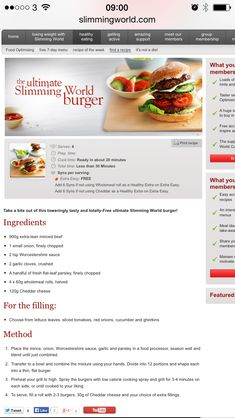 Slimming world burger FREE with your healthy a and b!