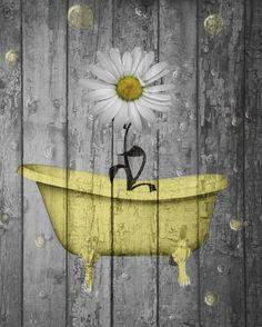 Rustic Yellow Daisy Flowers Bathtub Vintage Bathroom Powder Room Yellow Wall Art Status: Avail...
