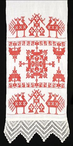 Folk Embroidery Ideas Scandinavian embroidered show towel Hungarian Embroidery, Folk Embroidery, Embroidery Patterns, Machine Embroidery, Norwegian Knitting, Cross Stitch Bird, Antique Quilts, Star Patterns, Needlepoint