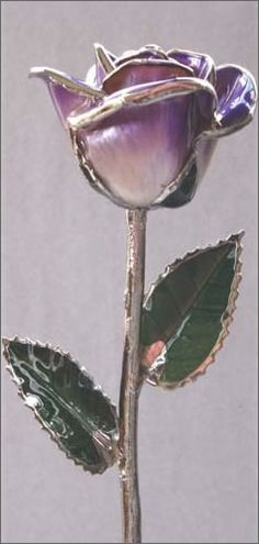 laquer dipped rose trimmed with platinum