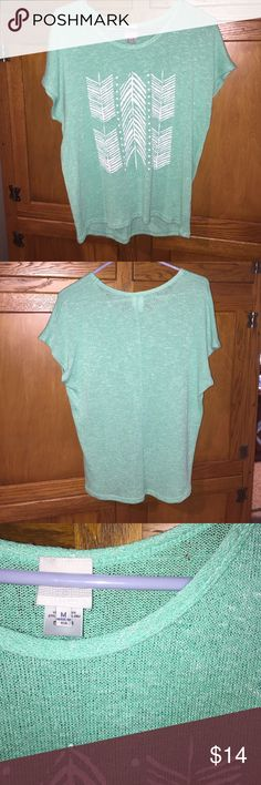 Mint green arrow top! This shirt is too cute! I love it with scarves, skirts, jeans, leggings, and fun necklaces! I wore it once or twice, small hole on upper back (can be seen in picture 3) but isn't noticeable with longer hair anyway  other than that, no damage and no stains!! (No trades) Tops Tees - Short Sleeve