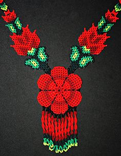 Traditional Huichol Beadwork Necklace, Red Flower Necklace, Seed Bead Necklace, Native American Style Beaded Necklace, Statement Necklace Traditional Huichol Beadwork Necklace Red by BiuluArtisanBoutique Beaded Choker Necklace, Seed Bead Necklace, Flower Necklace, Seed Beads, Simple Necklace, Native American Beadwork, Native American Fashion, Peyote Patterns, Beading Patterns