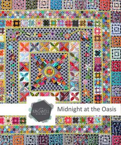 This medallion style quilt is made of an eclectic mix of fabrics and a variety of techniques include hand piecing, machine piecing and appliqué. The finished quilt measures 60 inches by 60 inches.