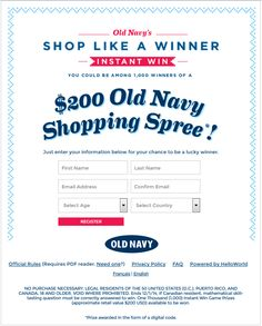 #ezSWEEPSTAKES $200 #OldNavy Shopping Spree! Enter Friday 27 November 2014 3:30 P.M. EST ends Monday 01 December 2014 3:00 A.M. EST. Register http://oldnavy.promo.eprize.com/spree then advance to Instant #Win Page. Enter once. Open to #Canada and #UnitedStates. #GoodLuck #HaveFun #ezswag