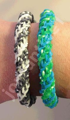 DOUBLE CROSS SPIRAL TWIST Bracelet for the Rainbow Loom. Designed and loomed by Christine Giradi. Click photo for YouTube tutorial on the jordantine1 channel.