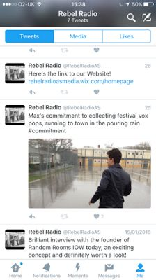 Here is some of our tweets from the @RebelRadioAS account. It includes updates in the recording process such as Max running down to the town to record vox pops, which, in conjunction with a witty hashtag, we believe helped to make our target audience aware of our product. It also enabled us to connect with our audience, as we could see which tweets our audience were liking or retweeting, thus showing approval for.