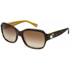 Ella - Dark Tortoise and Gold Frame, Khaki Gradient Lens ❤ liked on Polyvore featuring accessories, eyewear, eyeglasses, sunglasses, glasses, coach, frames, lenscrafters, tortoiseshell glasses and rhinestone eyeglasses