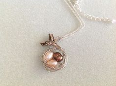 Silver Birds Nest Necklace with Bird Birds Nest by JewelryCharmers, $22.00