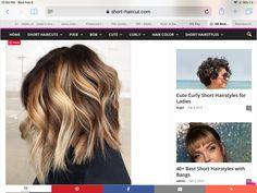 Colored Curly Hair, Short Curly Hair, Short Hair Cuts, Curly Hair Styles, Cute Curly Hairstyles, Medium Hairstyles, Hairstyles With Bangs, Bangs With Medium Hair, H & M Home