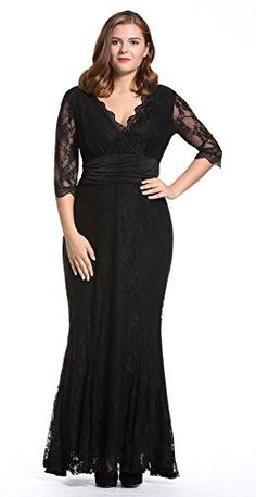 25eebc1aec604 Mother of the Bride Dresses - Dilanni Womens Plus Size V Neck Lace 12  Sleeves Long Evening Party Dresses -- Learn more by visiting the image link.