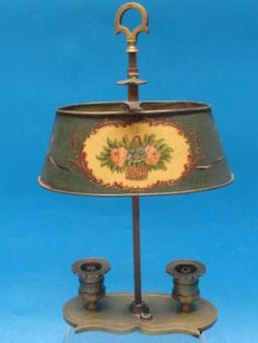 Fine French Painted Tole Shade Brass Table Lamp 20'S
