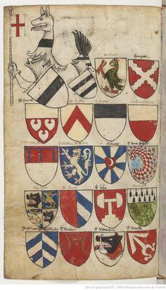 Ancien armorial colorié, où sont figurés les blasons de différents princes et seigneurs de France, Allemagne, Flandre, Angleterre, Espagne, Italie, etc. Cet armorial est vraisemblablement d'origine flamande. Premier mot : « Daufin ». Dernier mot : « le Sr de Senlis ».   Gallica