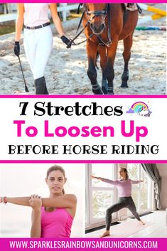 Improve your next horse ride with these 7 easy stretches. This is great for stiff horse riders that need to loosen up before they get on. This is a simple way to make a quick improvement to your ride. Do these stretches while the horse is still tied up, before you get your horse or have a friend hold the horse while you do these stretches. #horseriding stretches #horsesaremyhappyplace #horsebackridingstretches #equestrianstretches#stretchesbeforehorseriding Horseback Riding Tips, Horse Riding Tips, Show Jumping Horses, Horse Quilt, Horse Camp, Easy Stretches, Riding Lessons, Training Exercises, Workout Warm Up