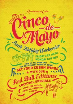 Cinco de Mayo Cuban Party Poster, Hand Drawn type, colourful Graphic design by www.diagramdesign.co.uk