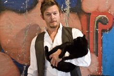 for all those people who say cats are stupid. this is Norman Reedus holding his cat, your argument is invalid. I love Norman! Norman Reedus Cat, Crazy Cat Lady, Crazy Cats, Celebrities With Cats, Celebs, Men With Cats, Son Chat, Cat People, Daryl Dixon