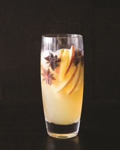 Quick Fall Cocktail - Orchard Punch (Serves 6):  ½ 750 ml bottle sweet Riesling  1 red apple, cored and sliced  1 green apple, cored and sliced  1 cup apple juice  2 tablespoons lemon juice  750 ml hard apple cider  Whole star anise