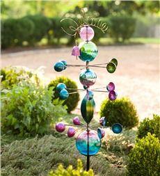 Glass Globes Welcome Garden Stake