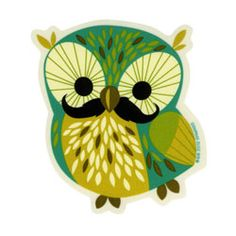 Mustache Owl Sticker