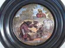Framed Victorian English Prattware 1800's  Bears Pot Lid