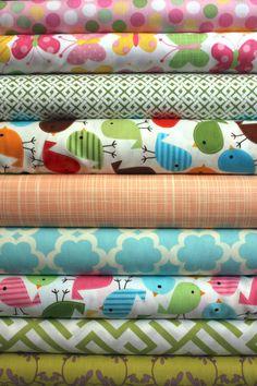 little birds custom 1/2 yd bundle 9 total by poppyseedfabrics, $47.00