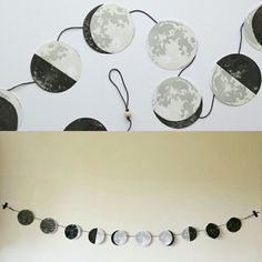 -DIY Moon Phase Garland- Diy For Kids, Crafts For Kids, Home Crafts, Diy And Crafts, Moon Decor, Creation Deco, Diy Home Decor Bedroom, Diy Garland, Crafty