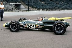 1965 Lotus Ford driven by Jim Clark to win the Indianapolis 500. First Indy 500 win for a rear-engined car.