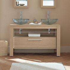 Adatto Casa 1200 Vanity Table Light Oak with Drawer - glass bathroom basins