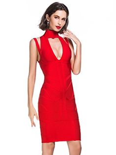 a5a73fc8d5e Amazon.com  Alice   Elmer Women s Rayon High Neck Cut Out Deep V Bodycon  Bandage Cocktail Evening Party Clubwear Club Dress Red L  Clothing