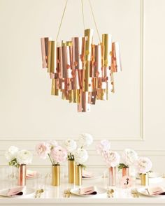 """See+the+""""Metallic+Chandelier""""+in+our+Polka-Dot+Wedding+Ideas+gallery with matching metallic vases."""