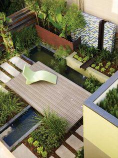 aménagement extérieur de petit jardin et terrasse