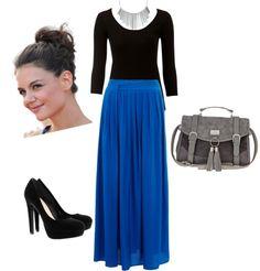 Blue Maxi Skirt With Black Long Sleeve Shirt