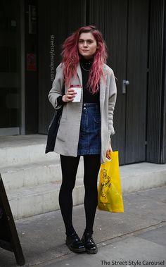 London Street Style Dr. Martens Shoes Black Patent 1461 Topshop Denim Skirt Grey Coat Beyond Retro Snaps