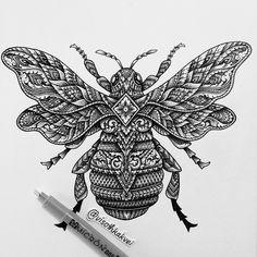 THROWBACK • ornate bee #art #original #visothkakvei