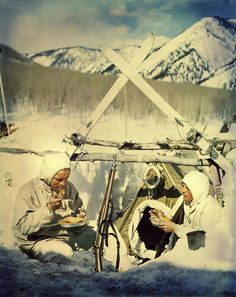 9c6e99ee7 10th Mountain Division men having lunch at camp - 1944. 10th Mountain  Division