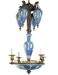 Antique Wedgwood Blue & White Jasperware Chandelier