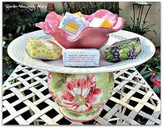 Pink Flower Garden Totem / Dessert by GardenWhimsiesByMary on Etsy, $37.00